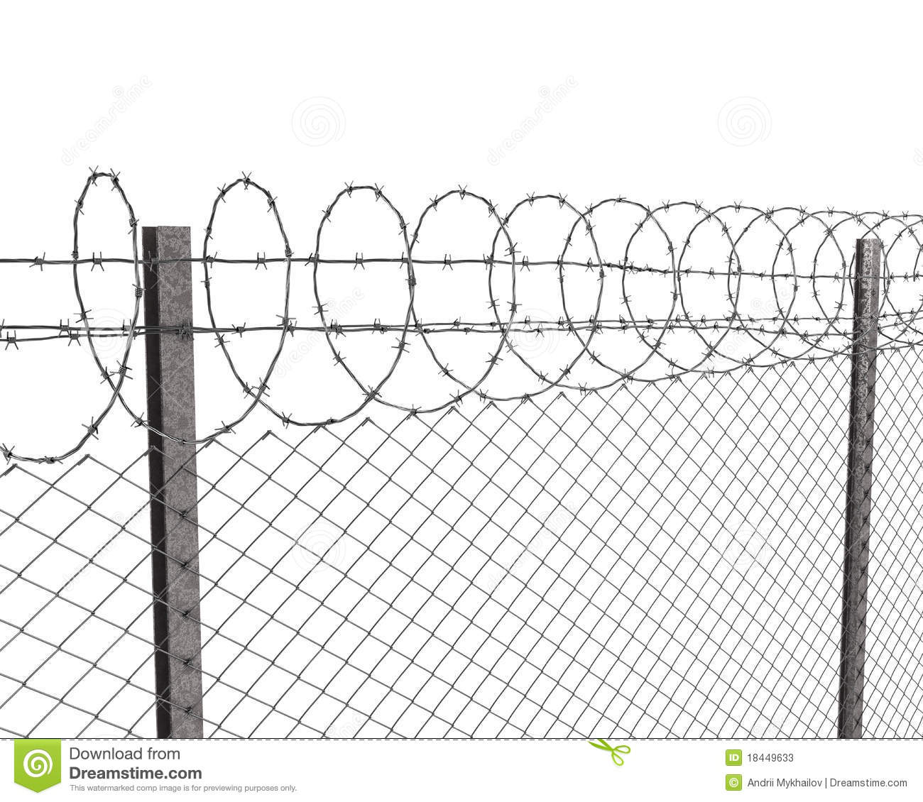 Stock Photos Chainlink Fence Barbed Wire Top Image18449633 on safety chain sign