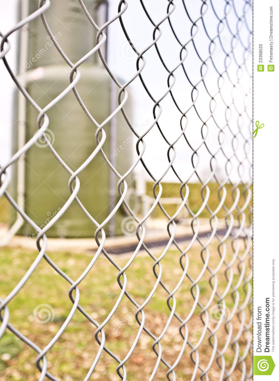 Chainlink fencing on an industrial site stock photo
