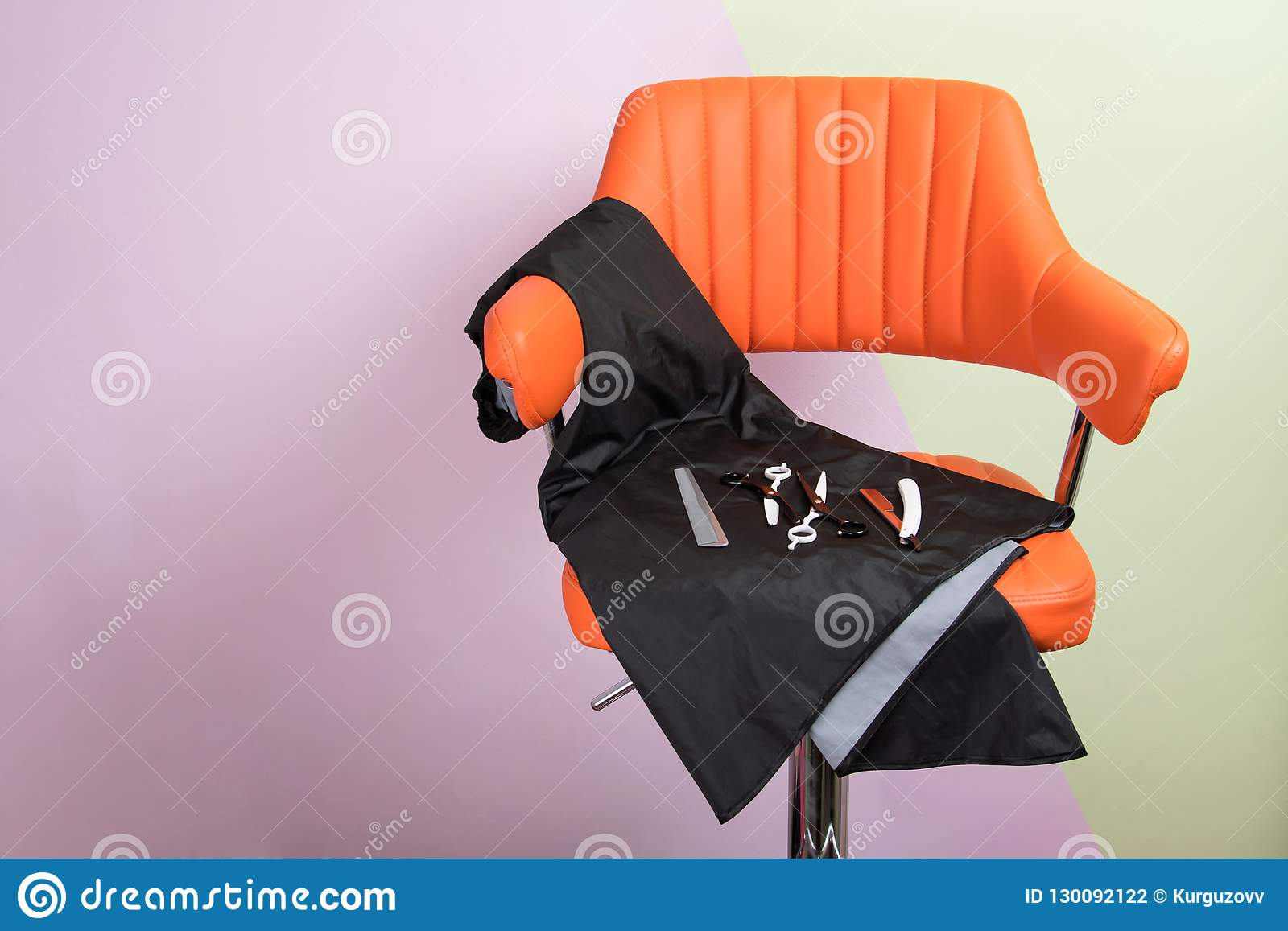 Chair With Accessories For Hair Cutting Master Stock Photo - Image