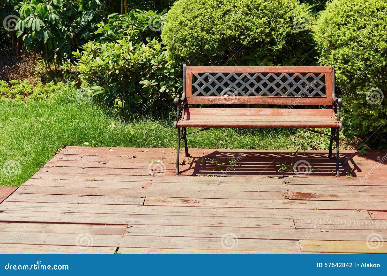 Chair On Wooden Deck Wood Outdoor Patio Backyard Garden