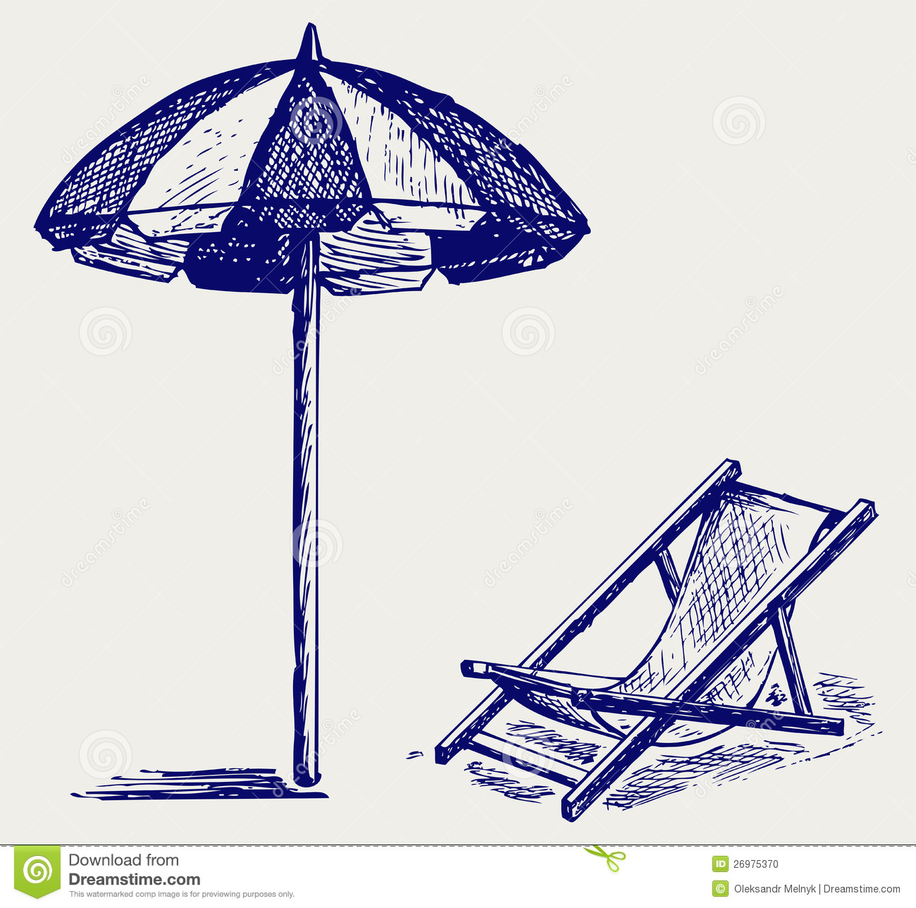 Chair And Beach Umbrella Stock Vector Illustration Of