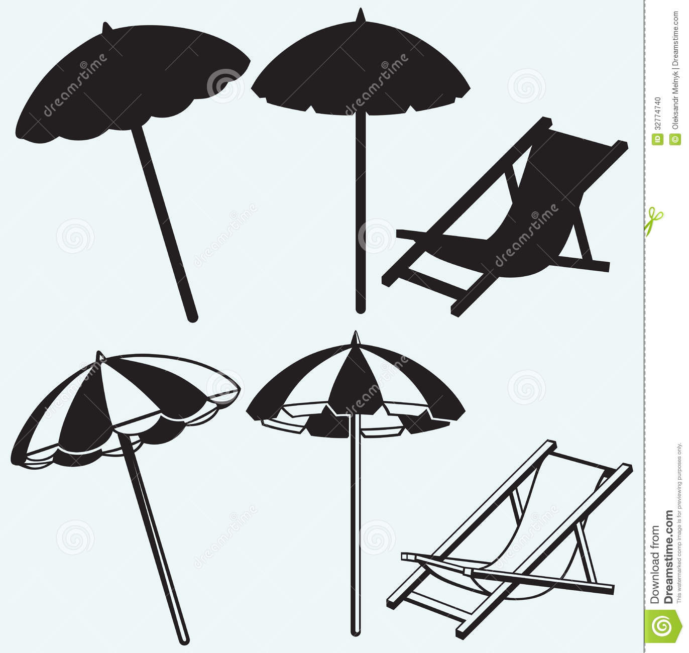 Beach chair and parasol vector illustration stock vector image - Chair And Beach Umbrella Stock Photo Image 32774740