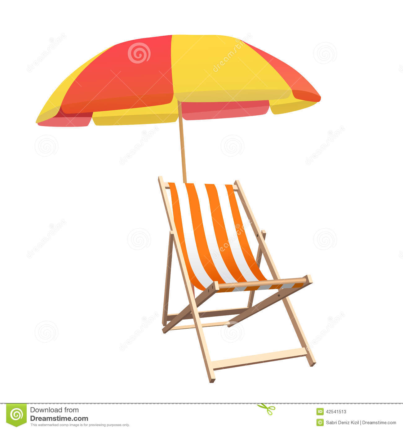 Beach chair and parasol vector illustration stock vector image - Chair And Beach Umbrella Vector Stock Vector Image 42541513