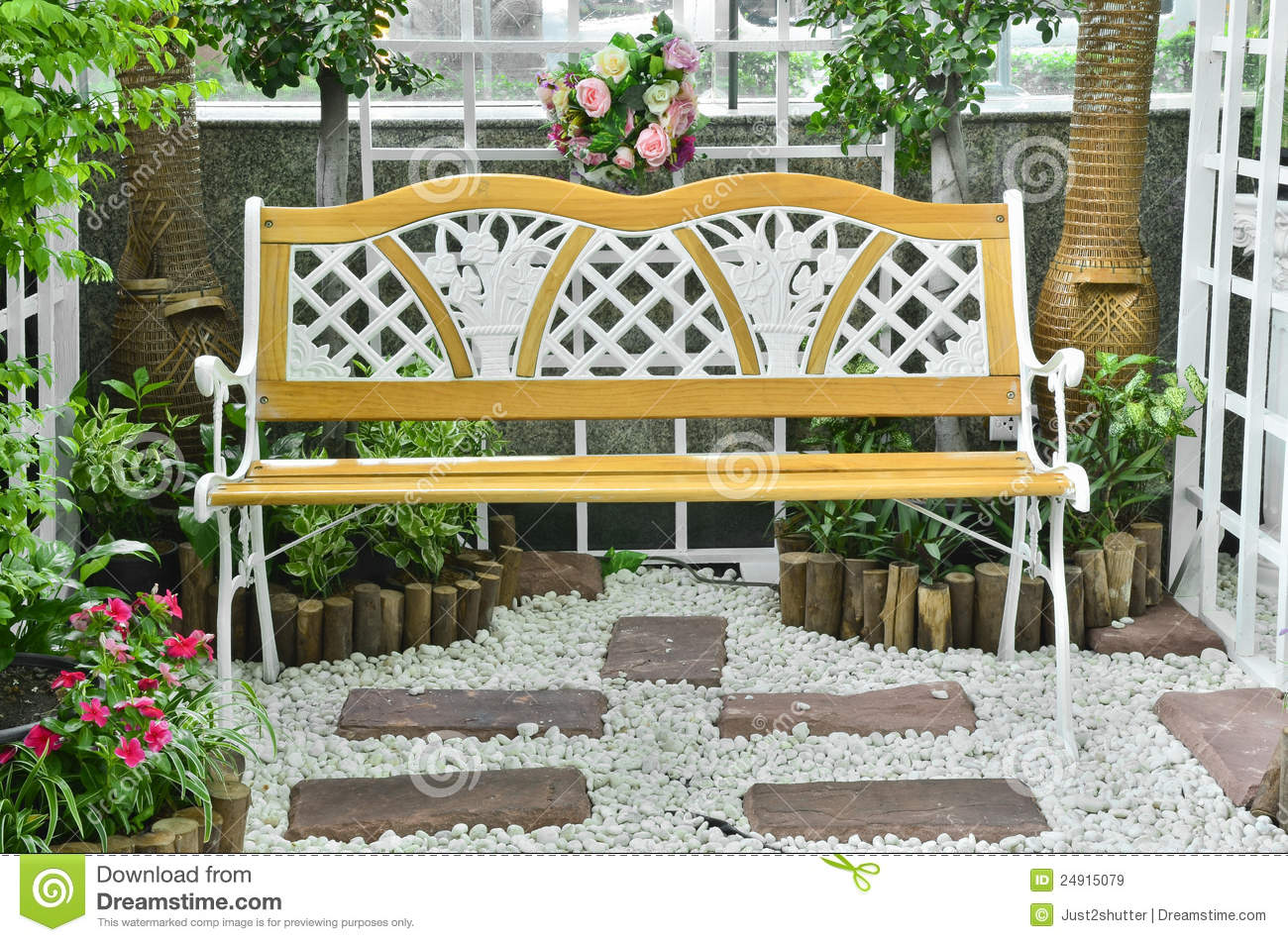 chair in beautiful garden stock image. image of furniture - 24915079