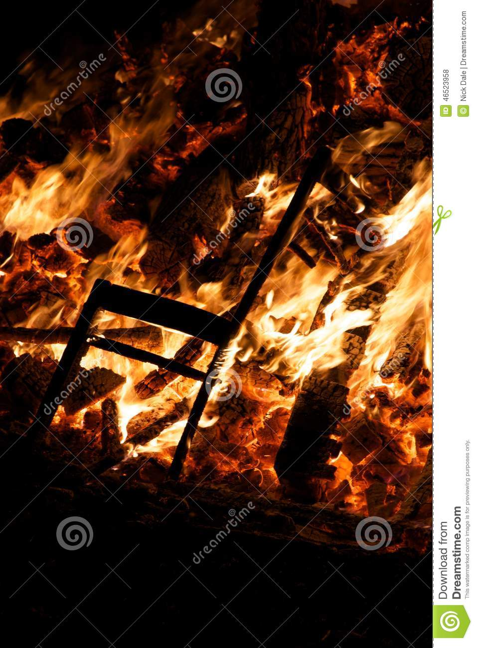 Download Chair Burning In Guy Fawkes Night Bonfire Stock Photo - Image of chair, burning: 46523958