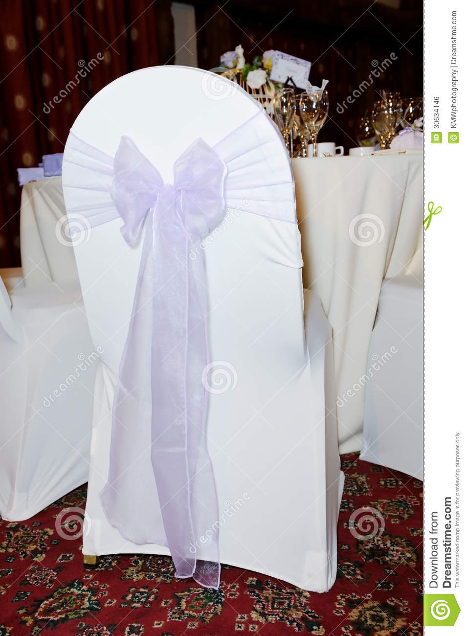 Chair Cover At Wedding Reception Stock Photo Image Of Ribbon White 30634146