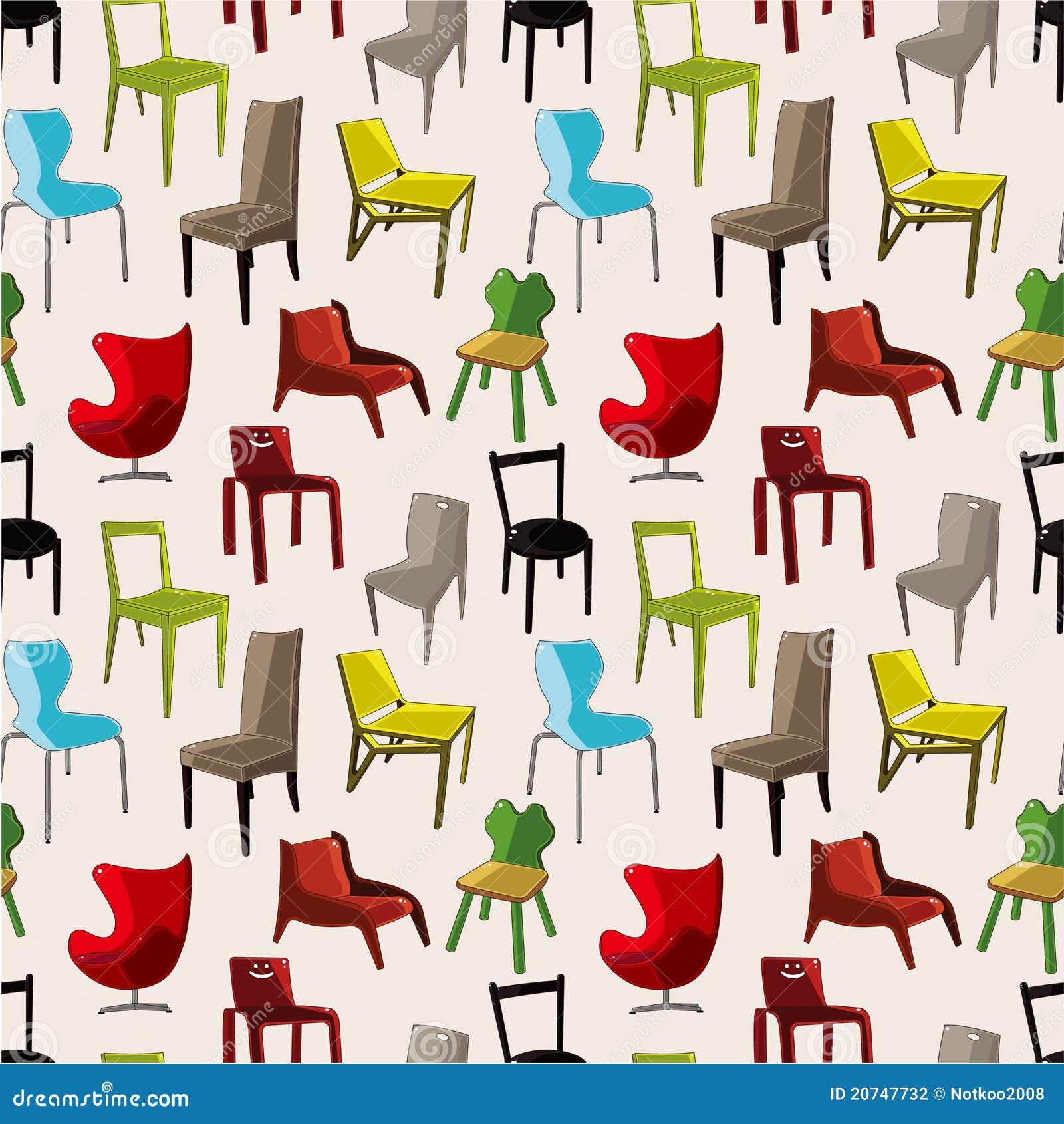 Chair furniture seamless pattern