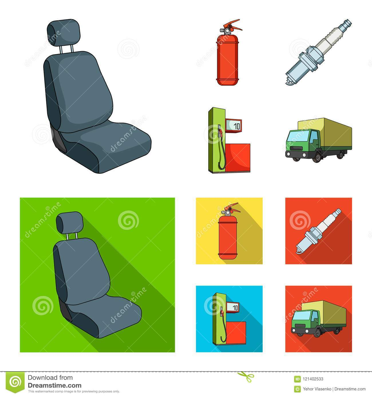 Chair With Headrest Fire Extinguisher Car Candle Petrol Station Set Collection