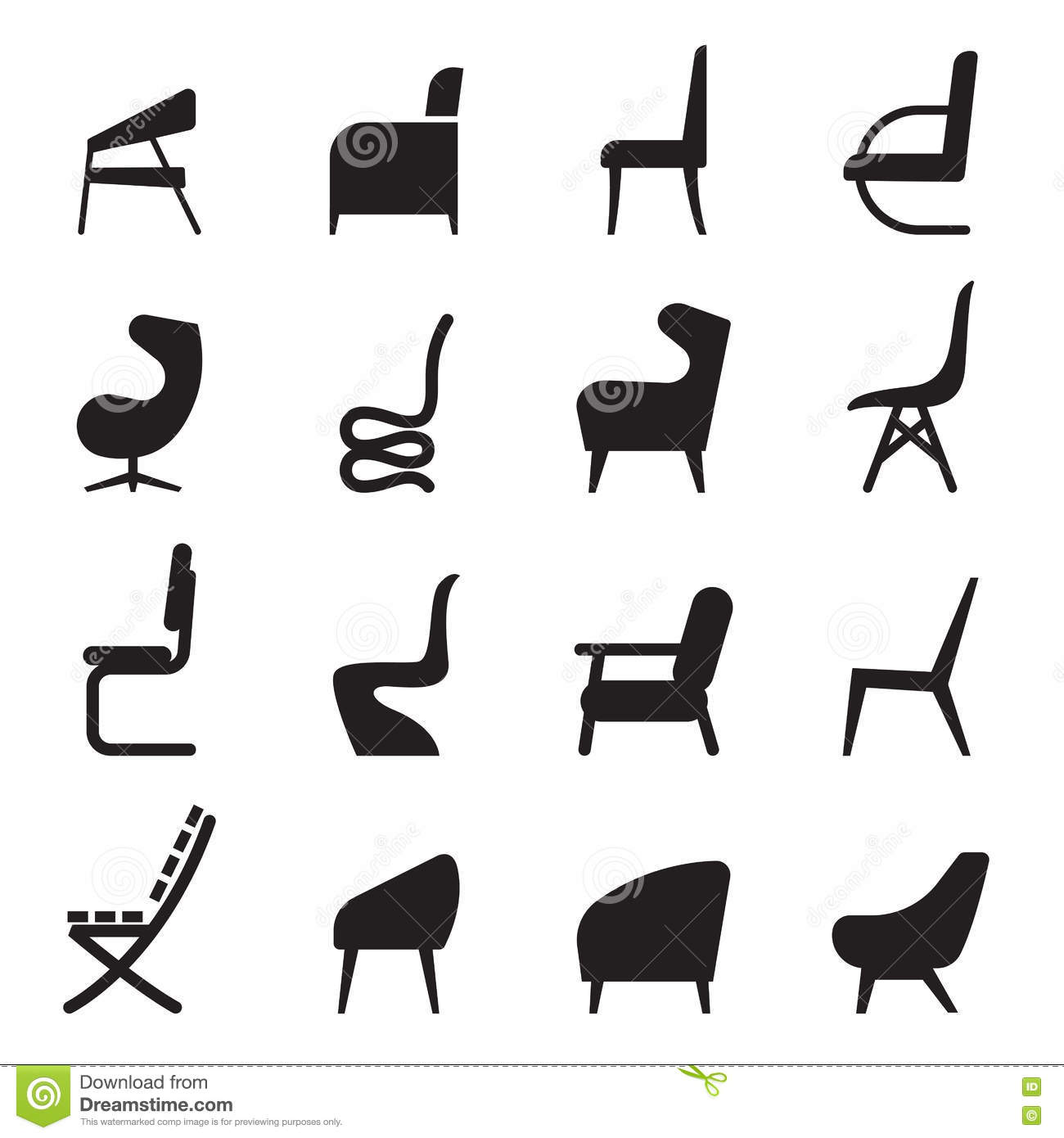 Chair Icons Set Side View Stock Illustration Image Of