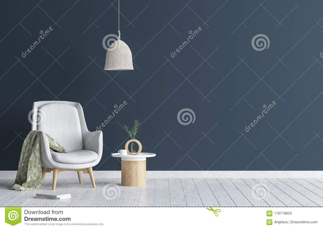 Chair with lamp and coffee table in living room interior, dark blue wall mock up background
