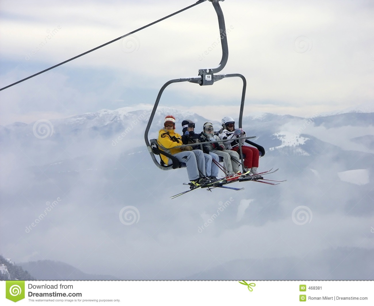 On a chair lift