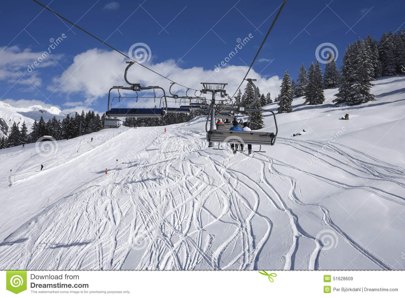 chair lift and skisloopes gaschurn editorial stock image - image of