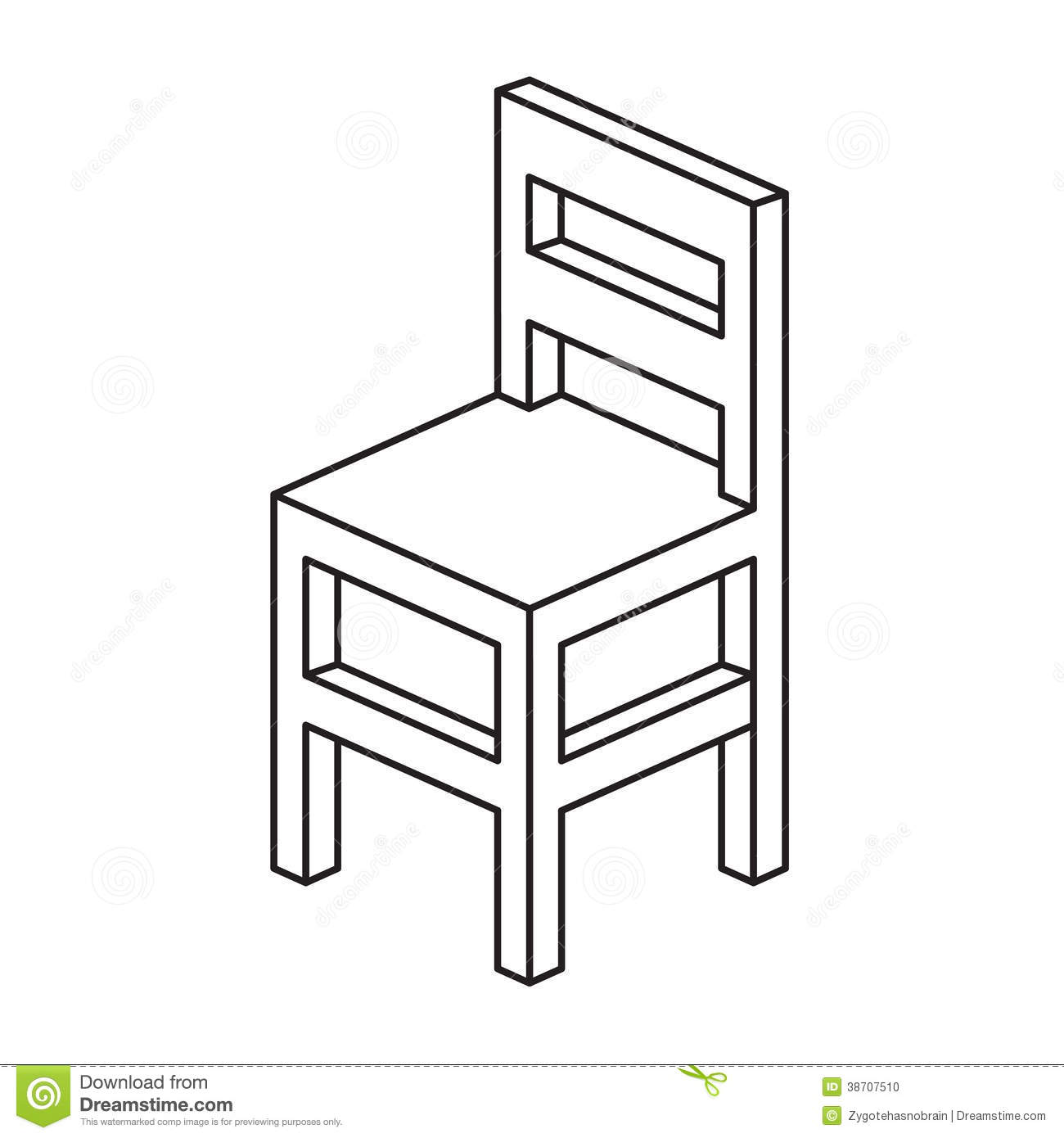 Modern Black And White Dining Room Chair Outline Stock Photo