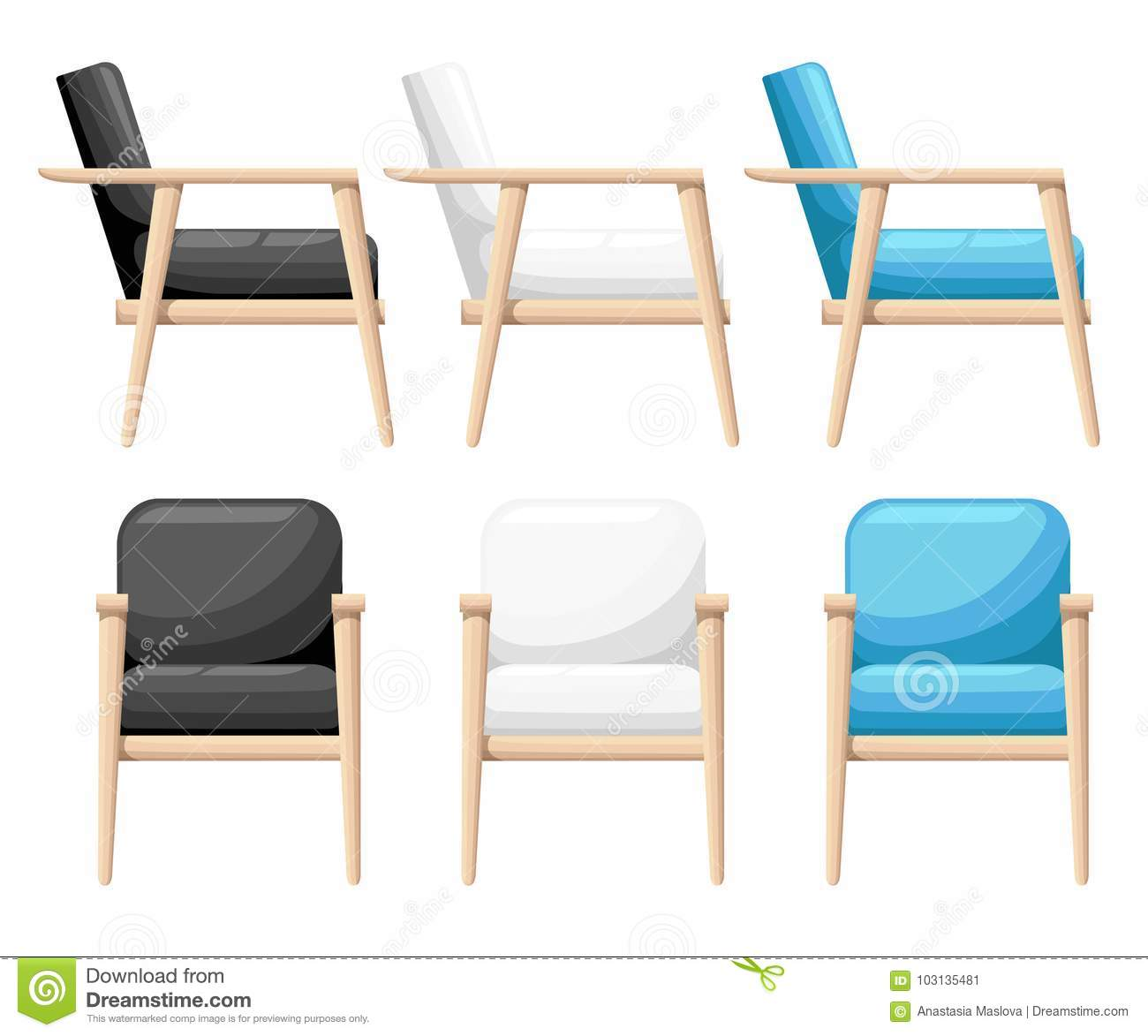 Download Chair Realistic Icon Set Four Identical Chairs With Different  Colors Are Soft Colorful With Wooden
