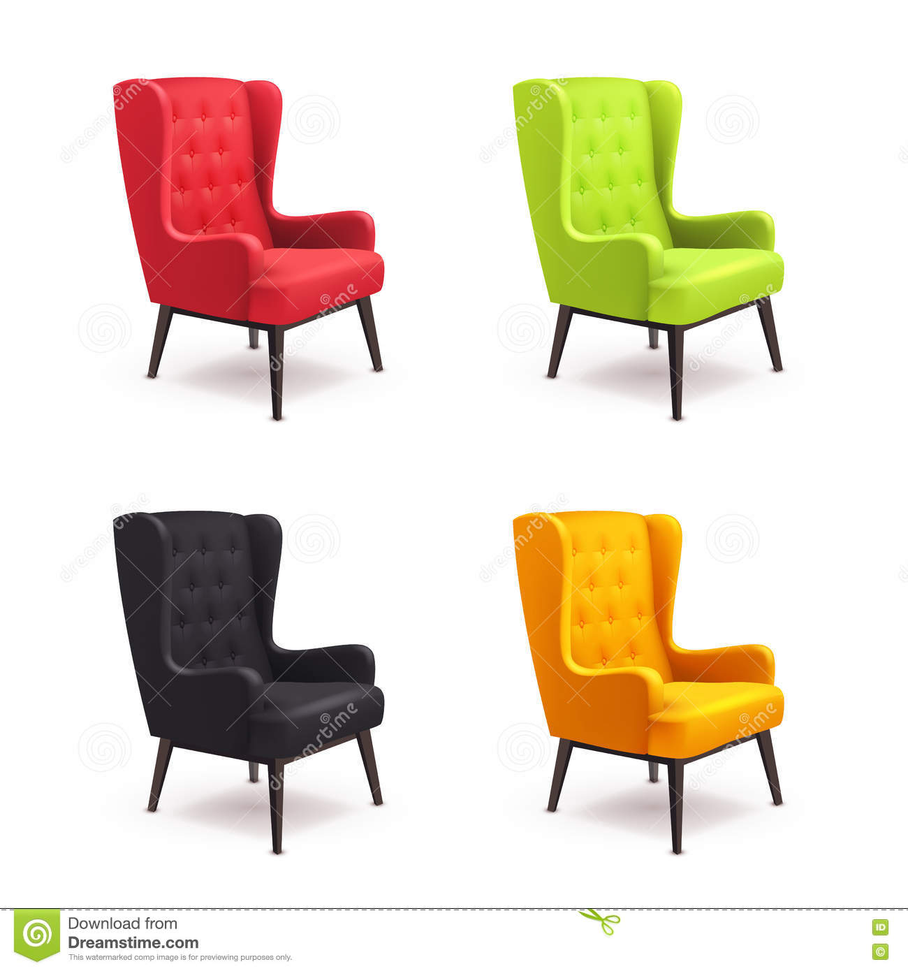 Chair realistic icon set stock vector illustration of for Different color chairs