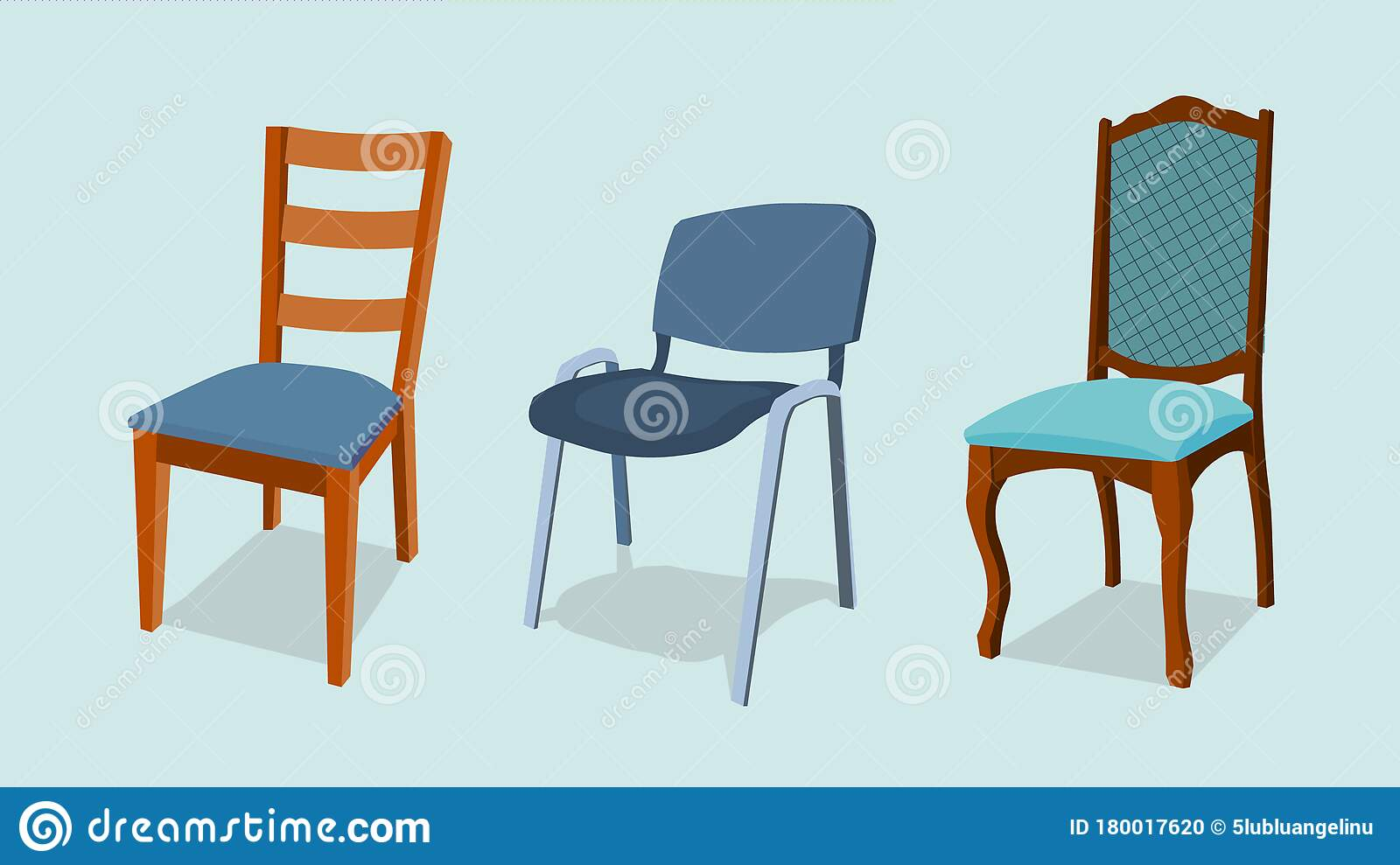 Chair Set Interior Design Illustration Collection Set Of Elements Designer Trendy Furniture Modern And Retro Stock Illustration Illustration Of Decor Kitchen 180017620