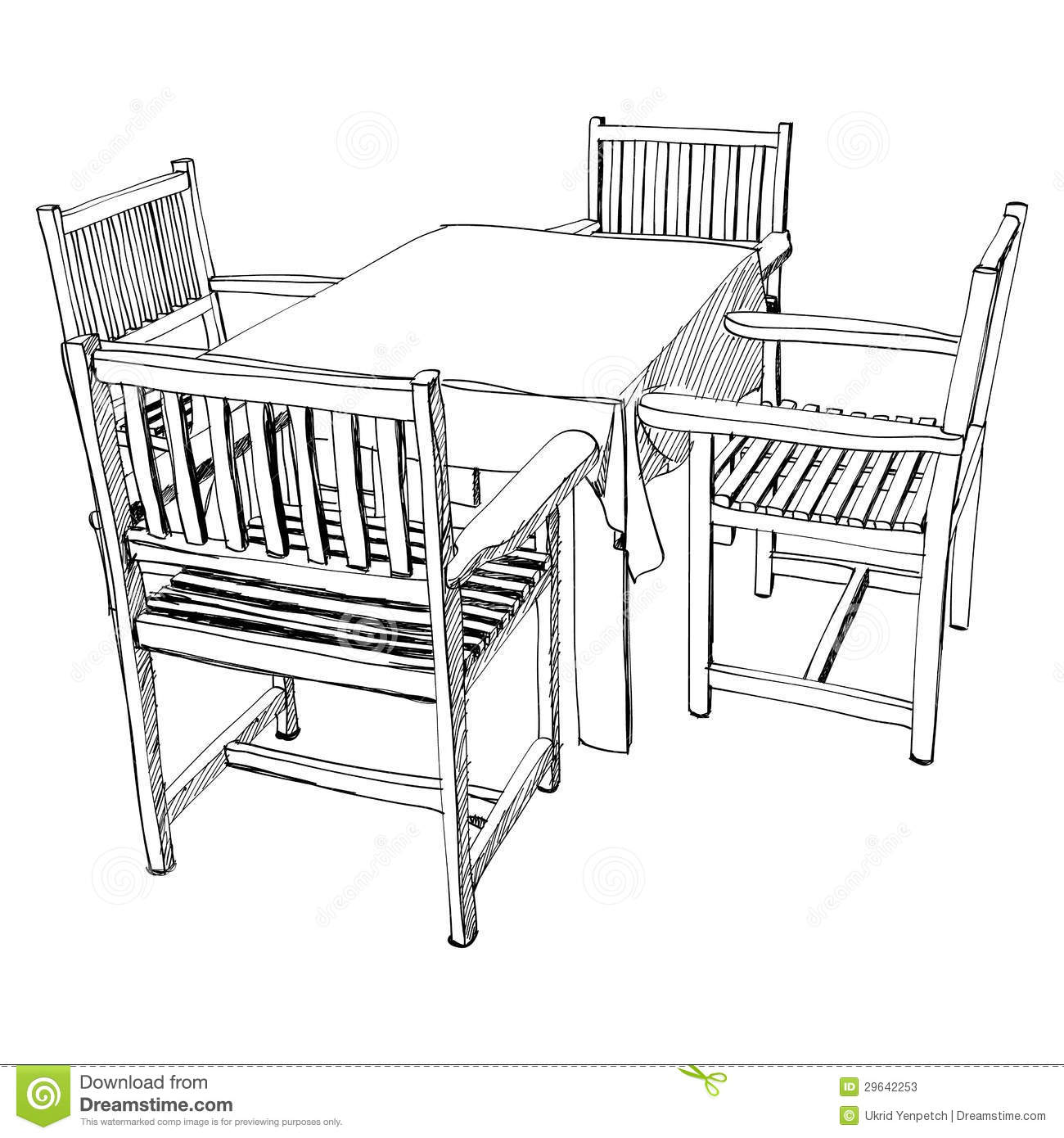 Chair And Table Set Hand Drawn Stock Vector
