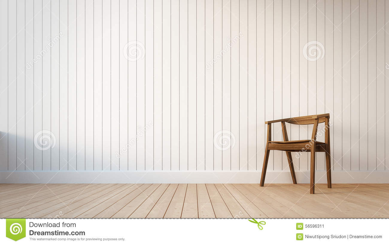 Chair And White Wall With Vertical Stripes Stock Photo