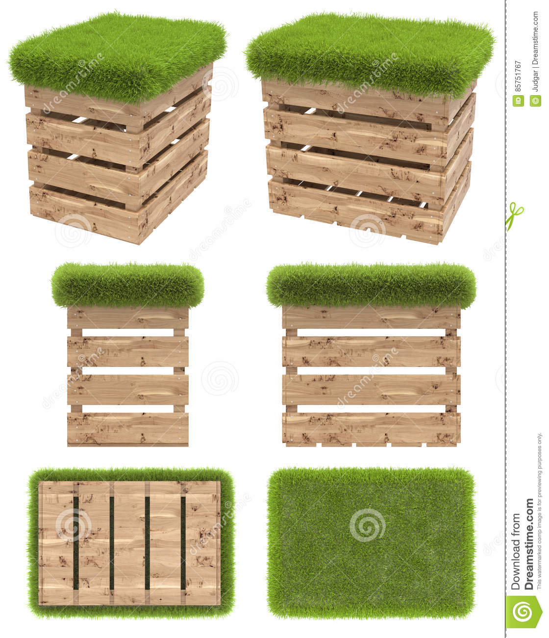 Garden Furniture Top View the chair of the wooden box or pallet with a seat of grass. garden