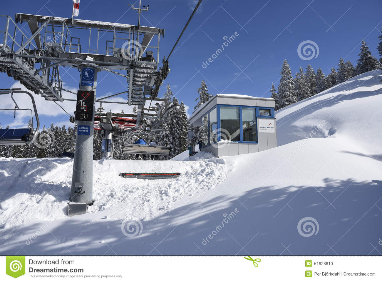 chairlift approaching lift station gaschurn editorial image - image