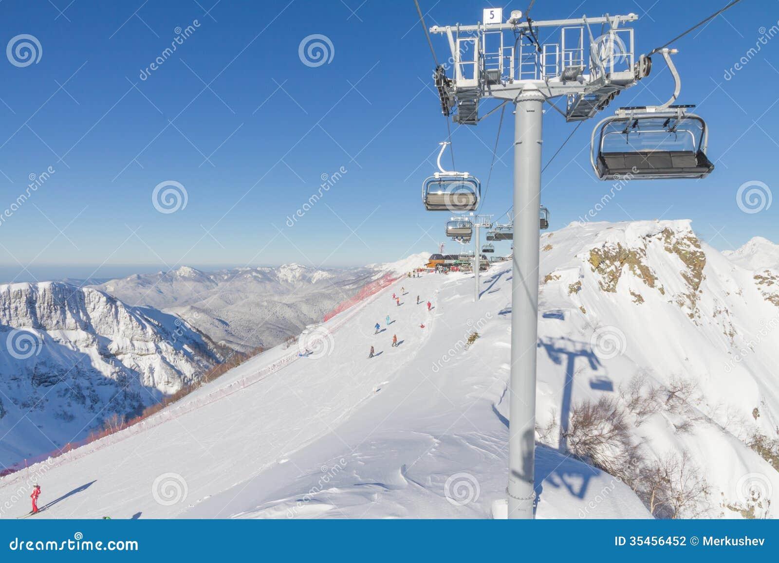 Krasnaya Polyana Russia  city photos : Chairlift in a ski resort Krasnaya Polyana. Sochi, Russia.