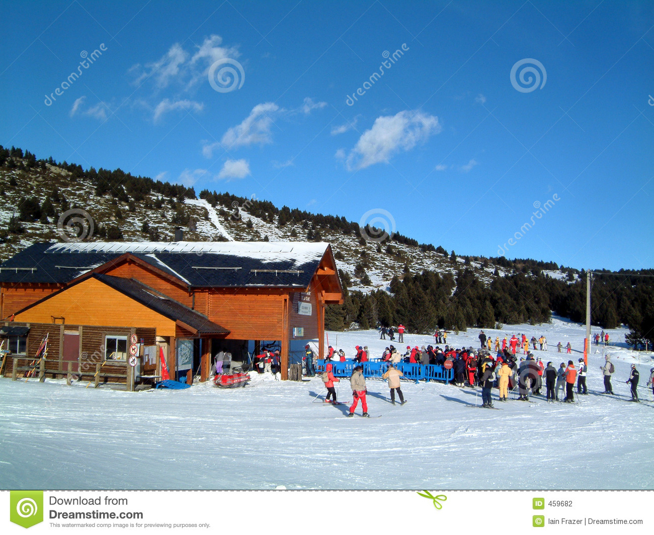 Download Chairlift station stock photo. Image of blue, snow, cabin - 459682
