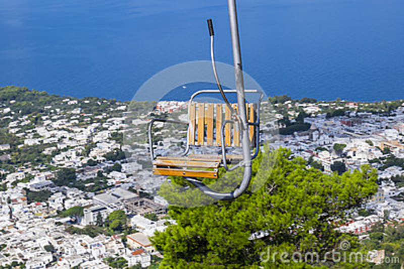 chairlift up to mount solaro in anacapri italy stock photo image