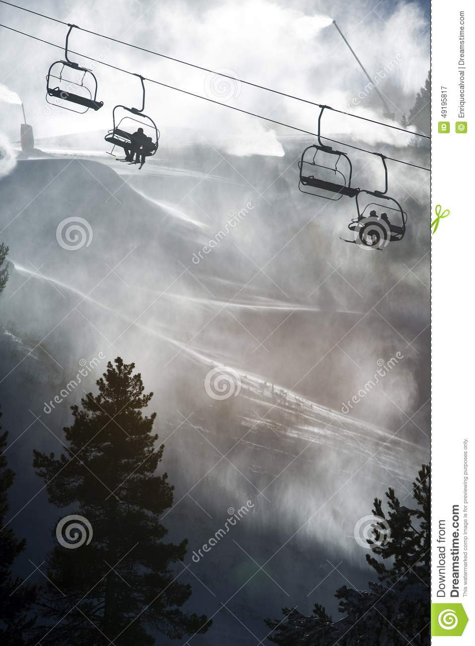 Chairlifts climbing to top of ski resort