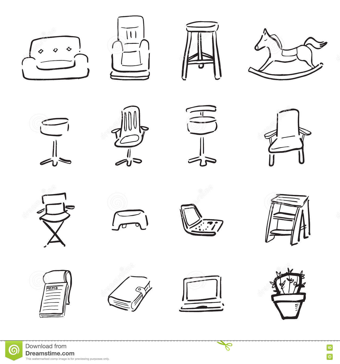 Chairs And Couchs Cartoon Drawing Icons Stock Vector Illustration