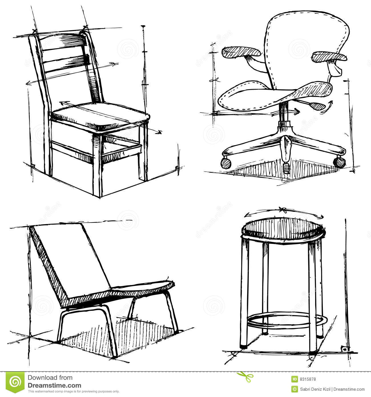 Office Business Chairs Furniture Drawings Set Royalty Free Stock