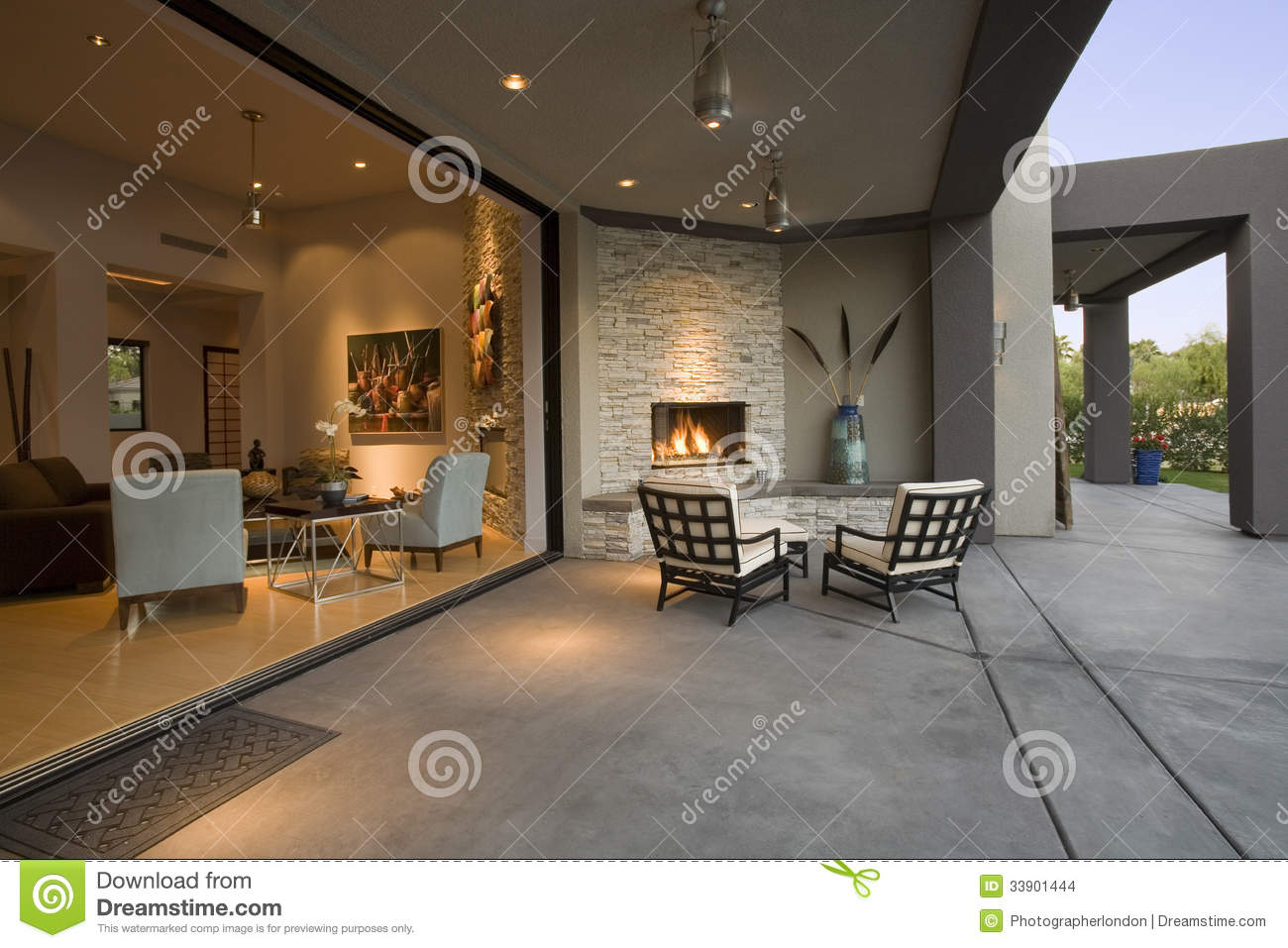 Download Chairs By Fireplace In Patio Stock Photo - Image of home, comfortable: 33901444