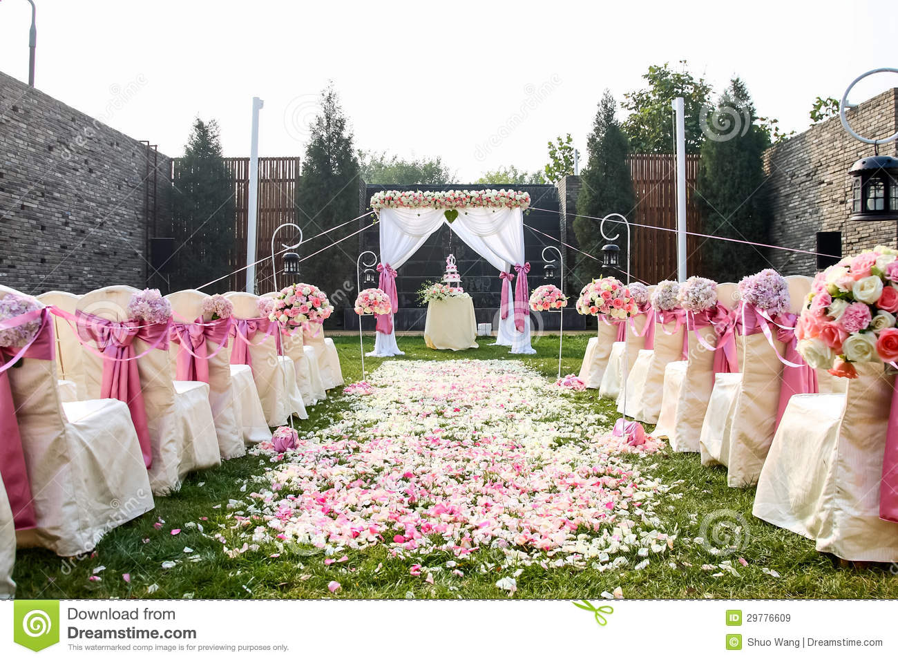 White Chairs At A Wedding Indoor Stock Photo: Outdoor Wedding Scene Royalty Free Stock Images