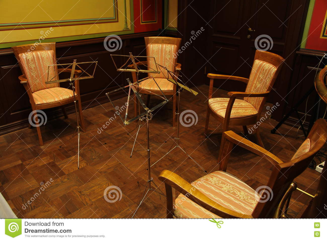 Empty room with chair violin and sheet music on floor photograph - Chairs And Music Stands Sheet Music For String Orchestra Quartet