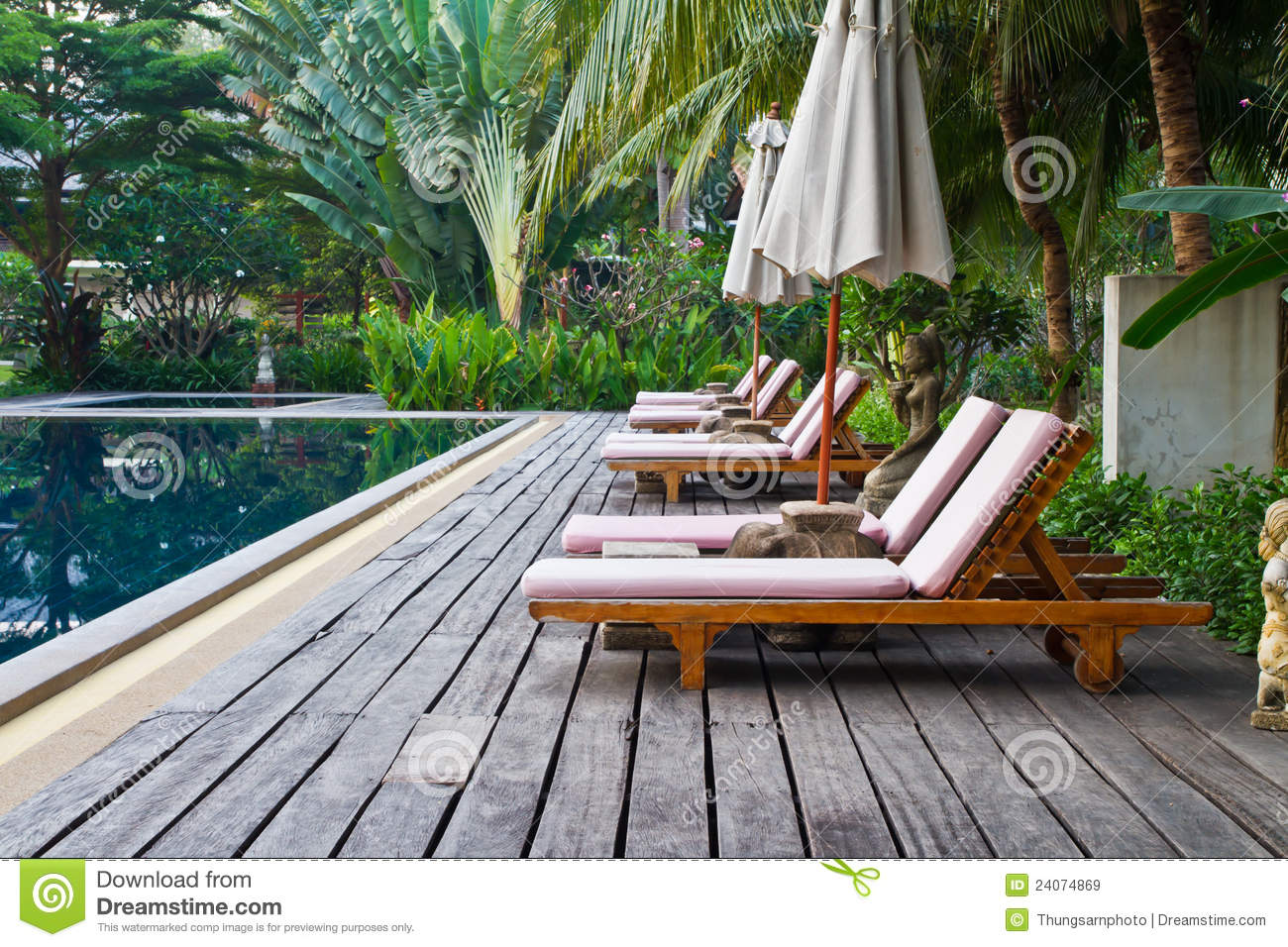 Chairs On A Pool Deck Royalty Free Stock Images - Image: 24074869
