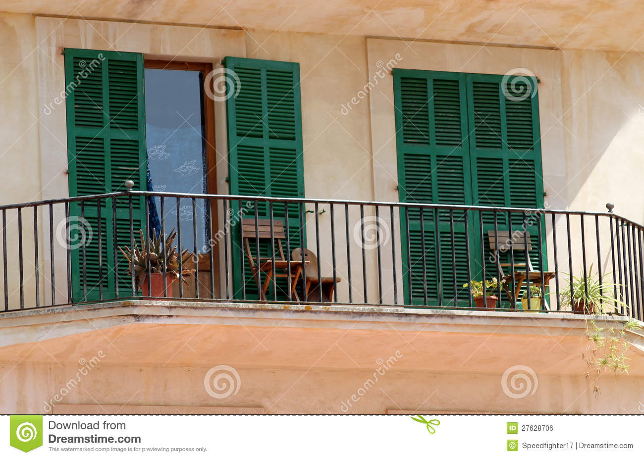 Chairs on spanish balcony royalty free stock image image for Balcony in spanish