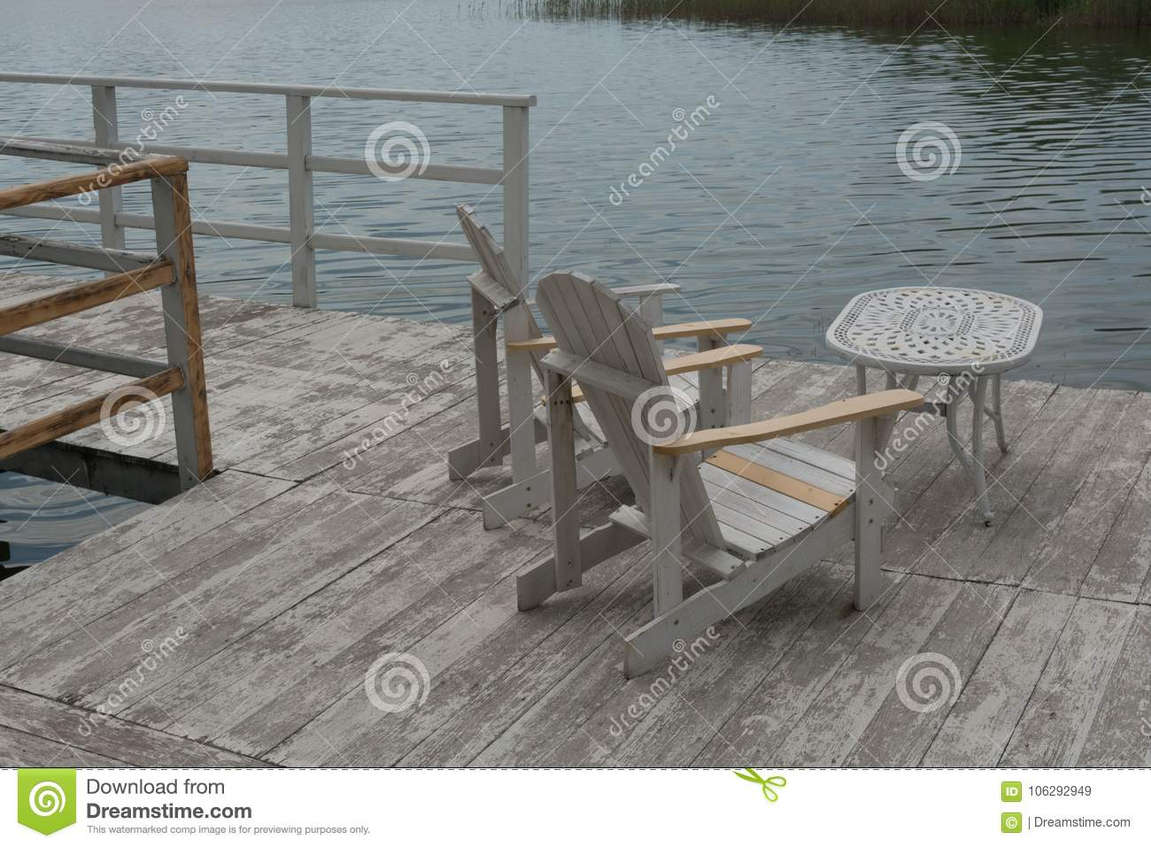 Chairs And Table On The Pontoon Stock Image Image Of White