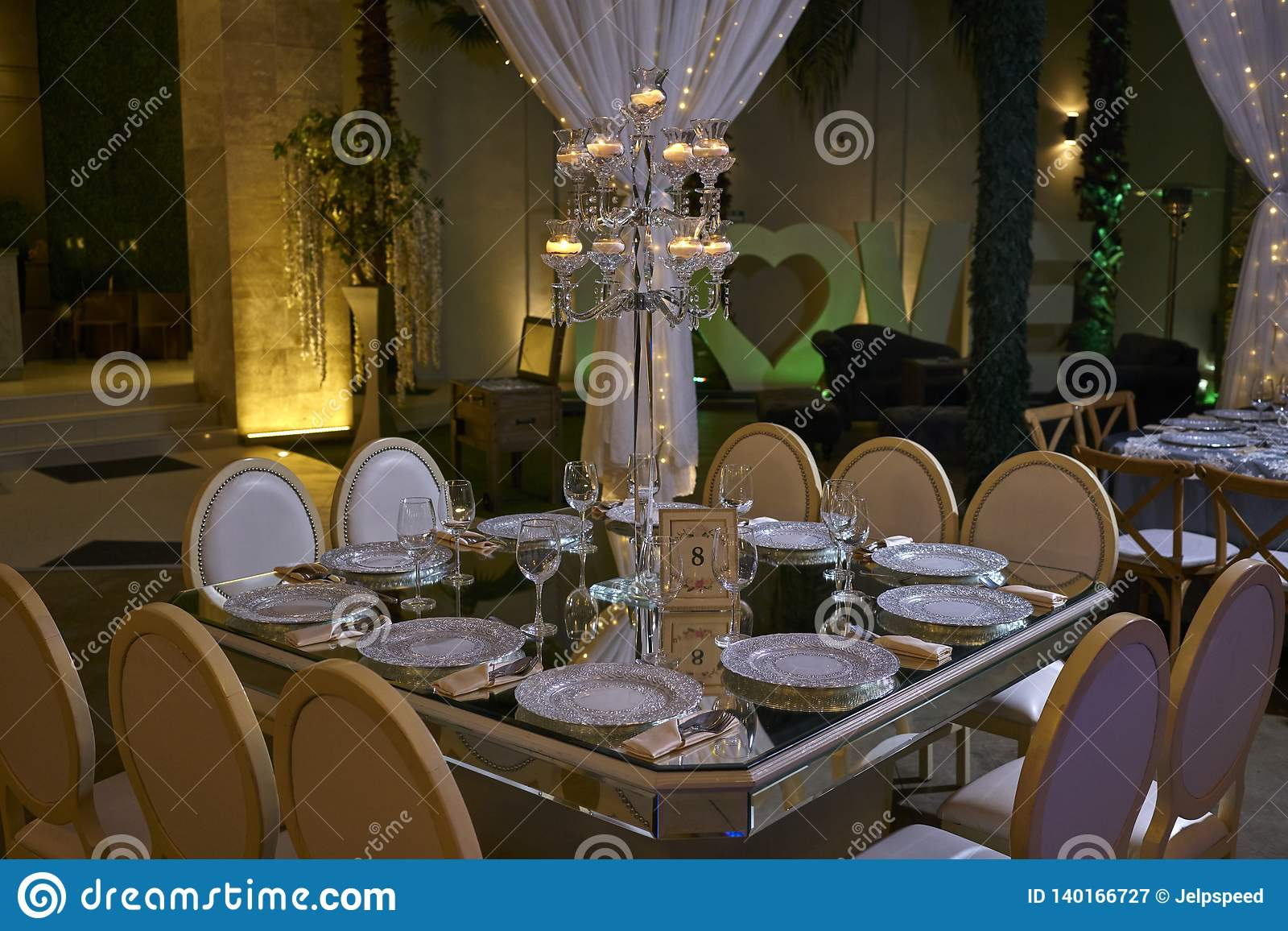 Awesome 10 Chairs Table Setting Candle Lit Decoration Elegant Home Interior And Landscaping Synyenasavecom