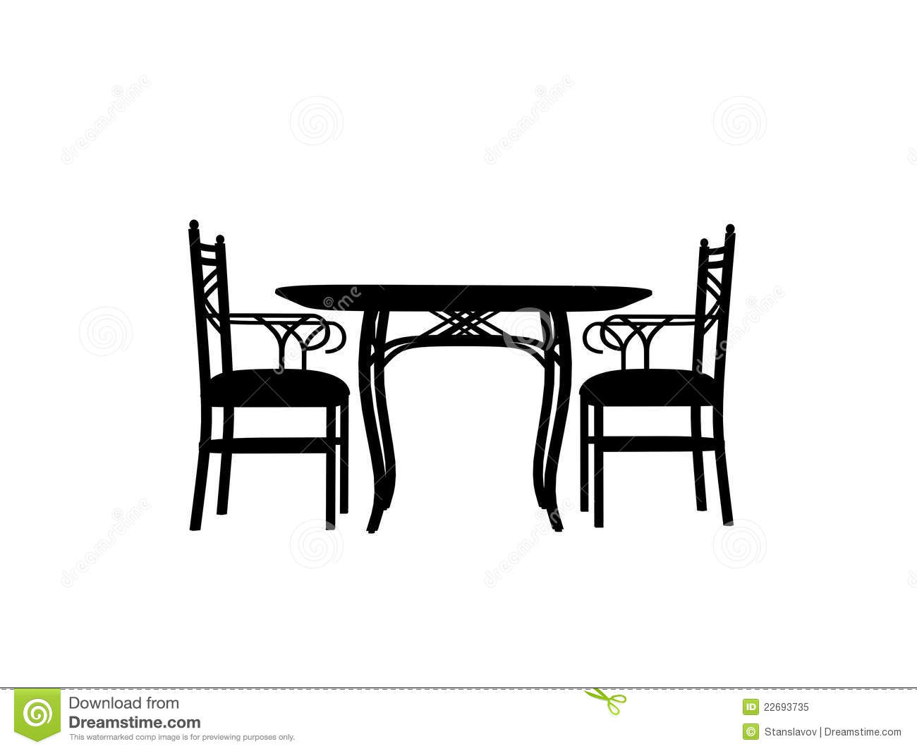 Chairs Table Silhouette Outline Royalty Free Stock Photo - Image ...