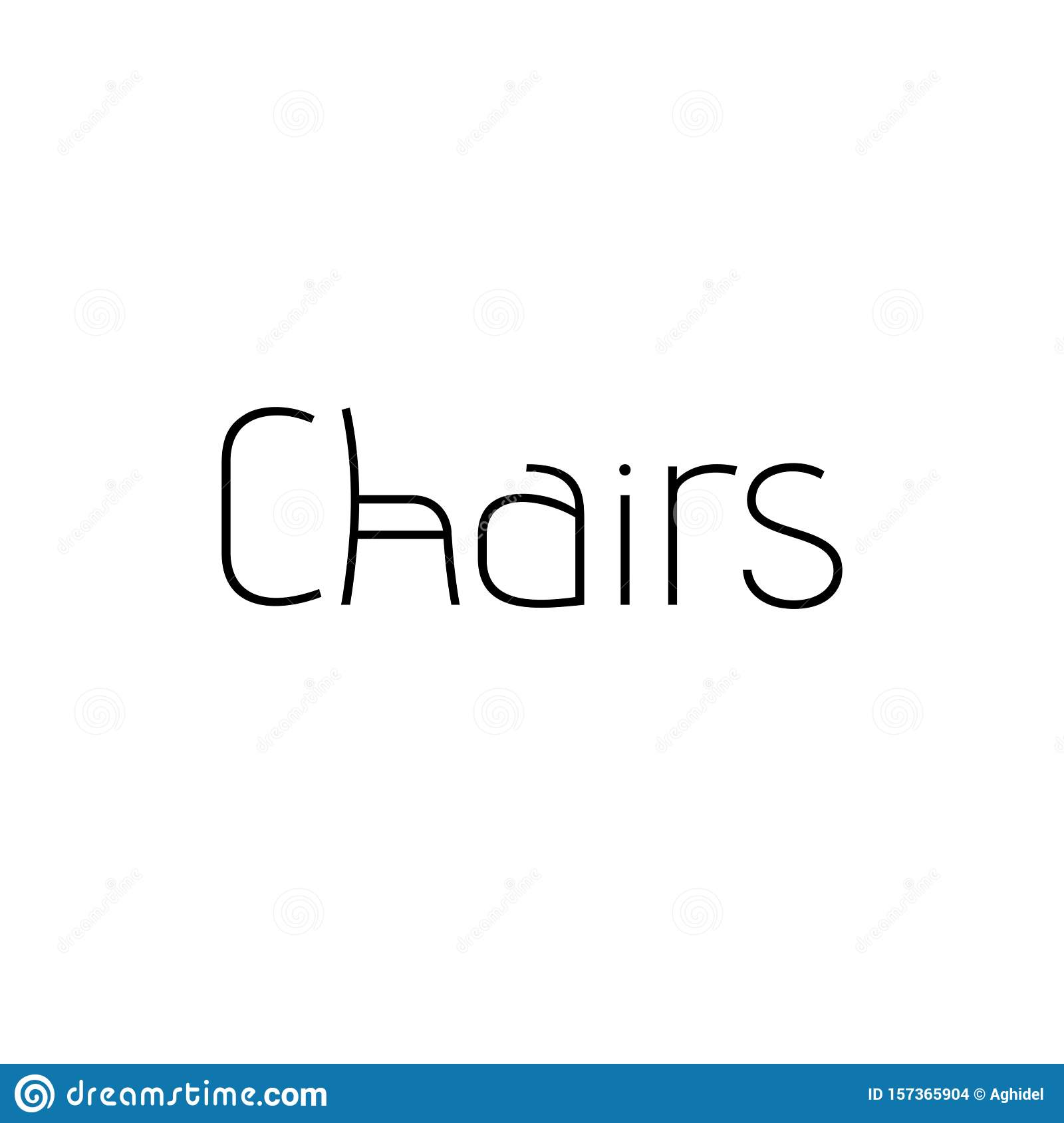 Chairs Text Logo Using Stylized Advent Font. Chair Symbol