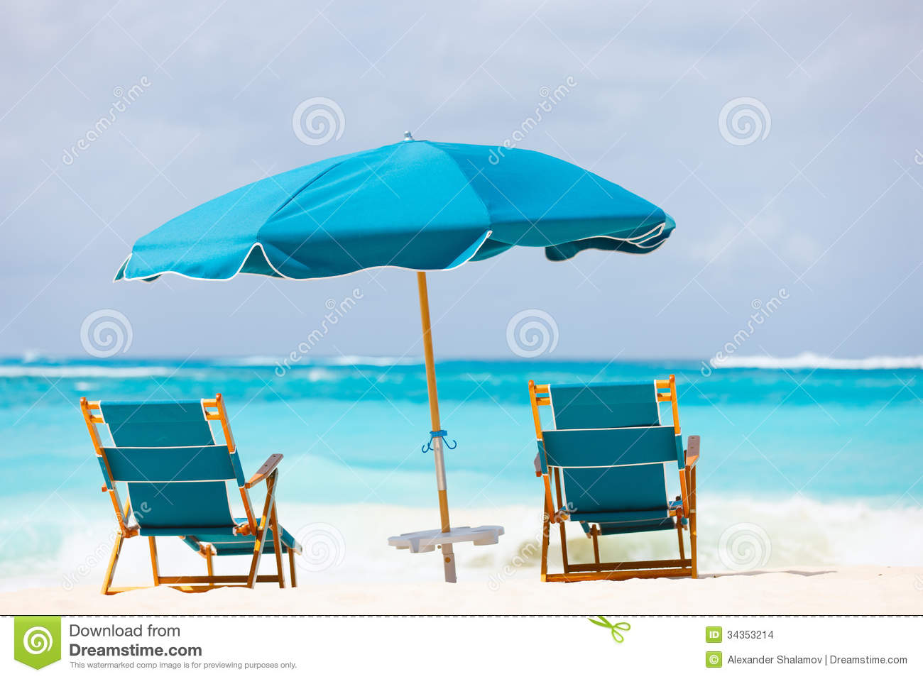 Tropical Beach Chairs Chairs And Umbr...
