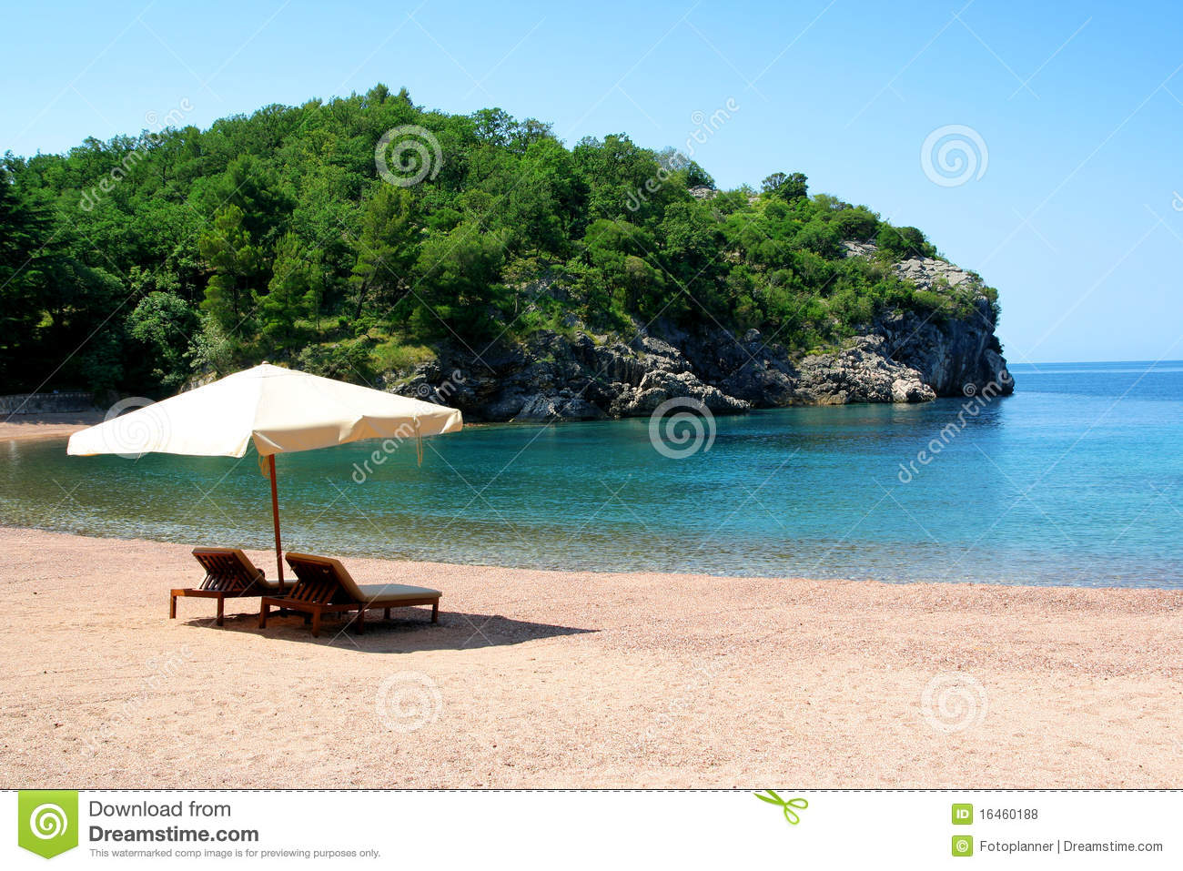 Two Beach Chairs Under Sunshade Vector Illustration