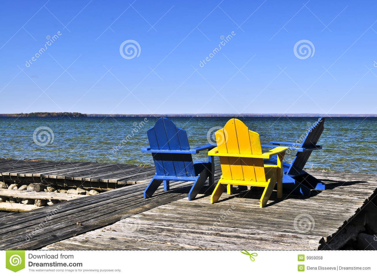 Chairs On Wooden Dock At Lake Royalty Free Stock Photos - Image ...