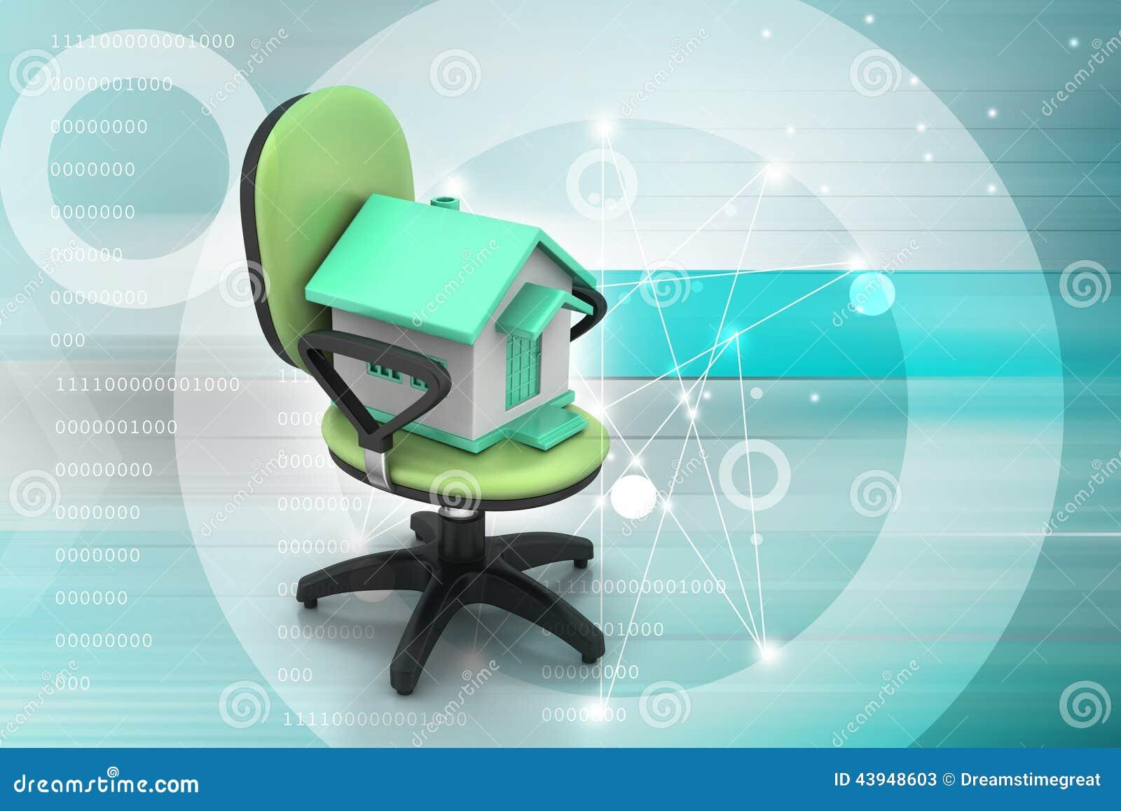 Chaise de bureau avec le modèle à la maison illustration stock