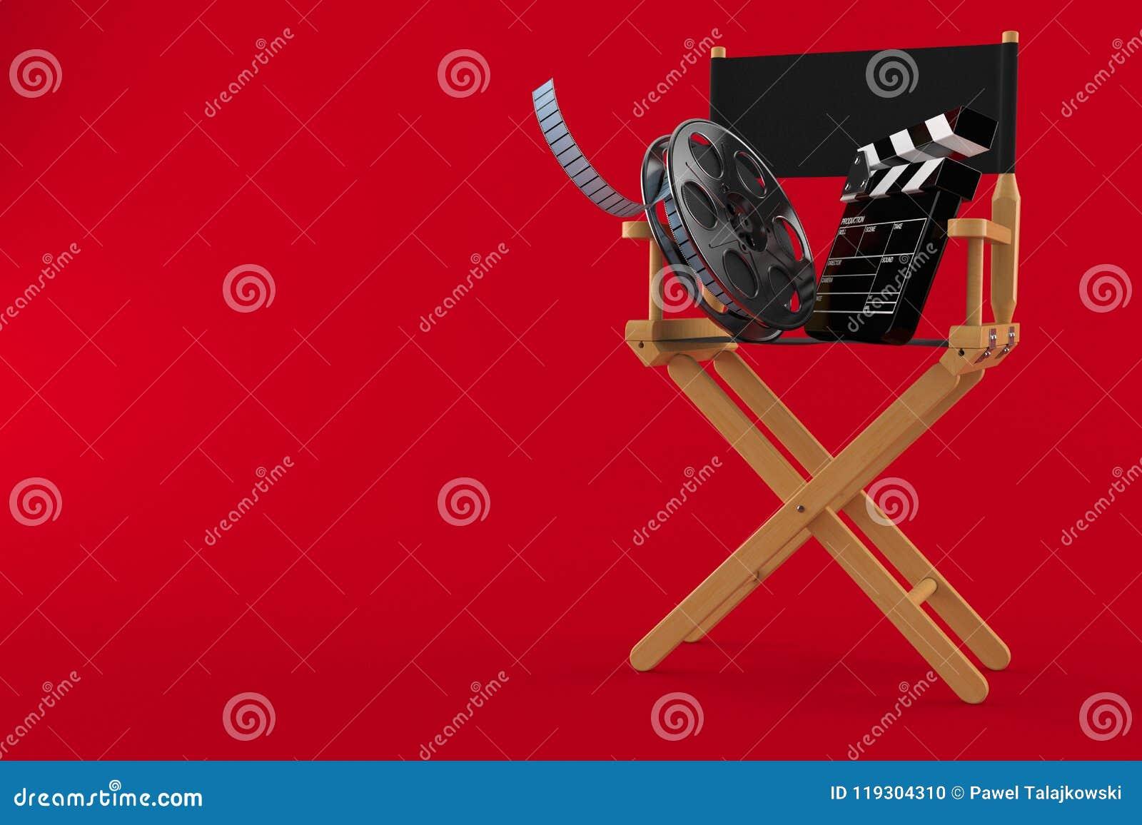 Chaise de cinéaste avec la bobine de film et le bardeau