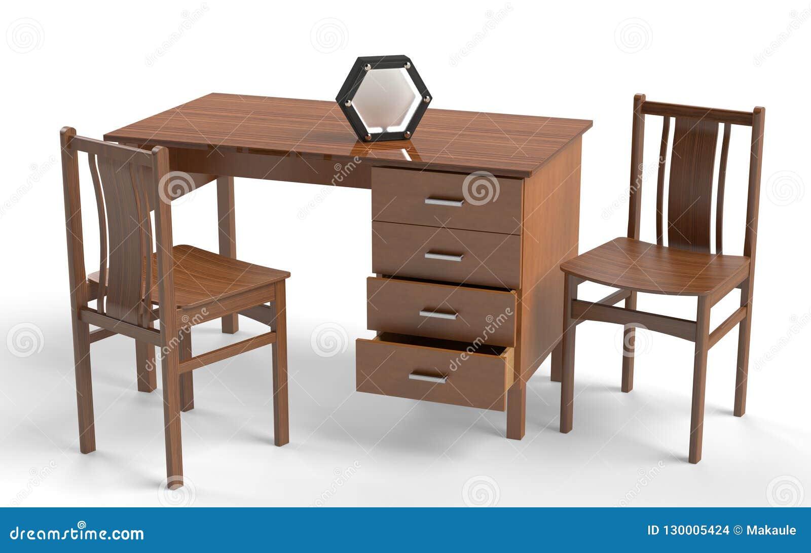Bureau Blanc Style Ancien : Chaise de style ancien et table de bureau illustration stock