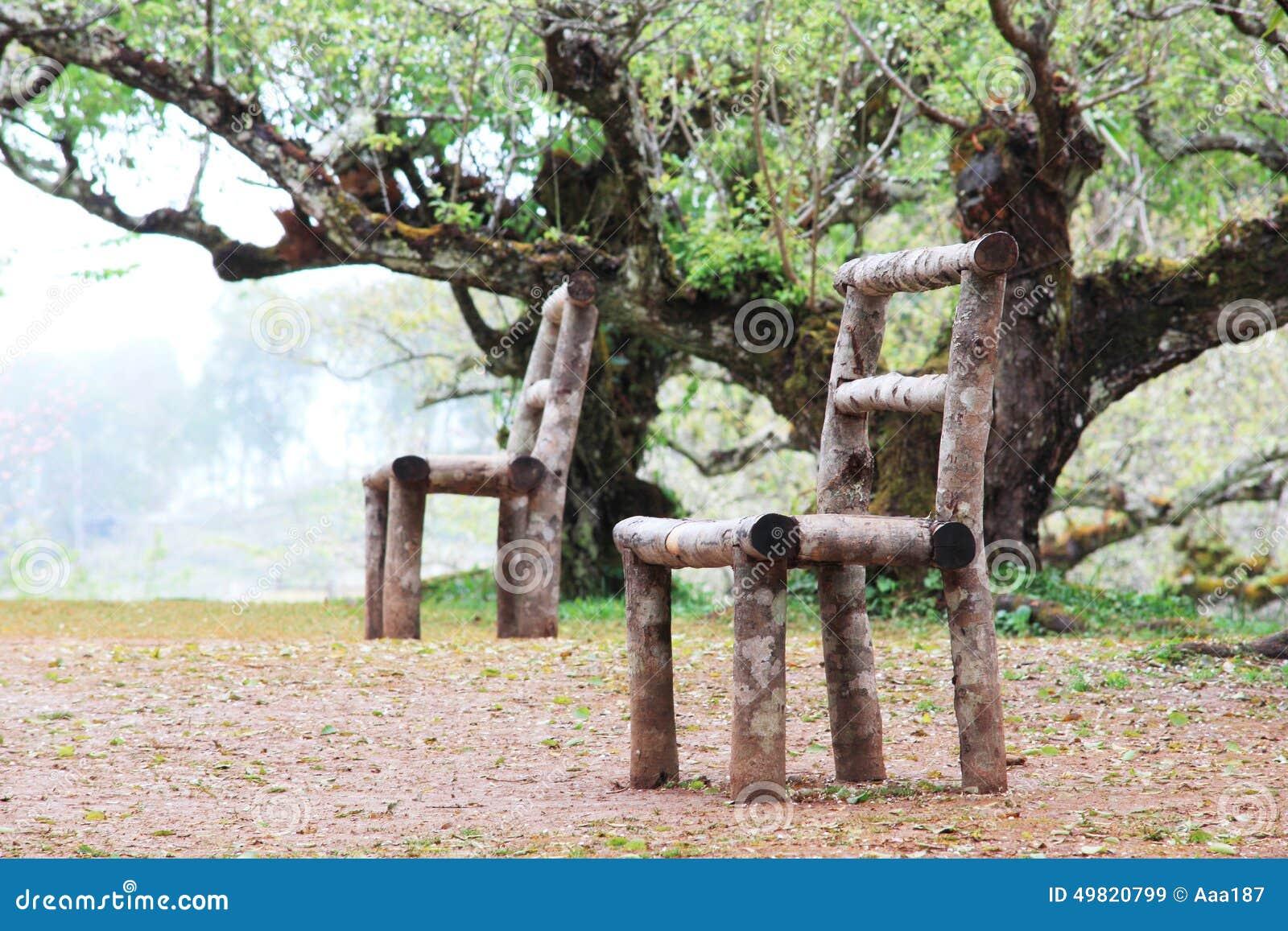 chaise en bois dans la for t photo stock image 49820799. Black Bedroom Furniture Sets. Home Design Ideas
