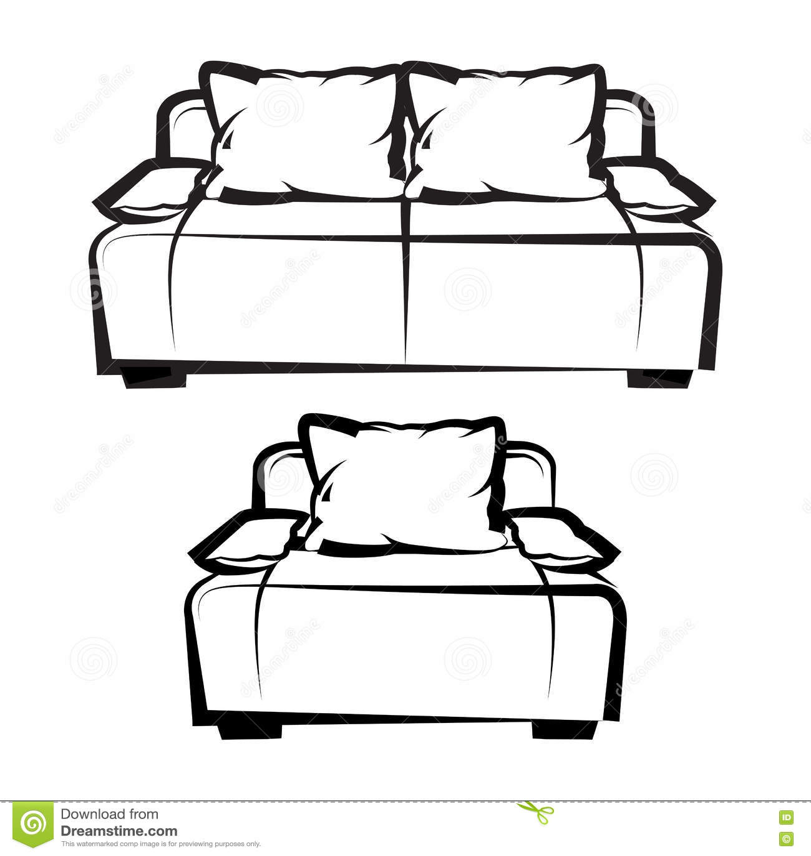 Chaise et sofa retrait de dessin main lev e illustration - Dessin de chaise en perspective ...