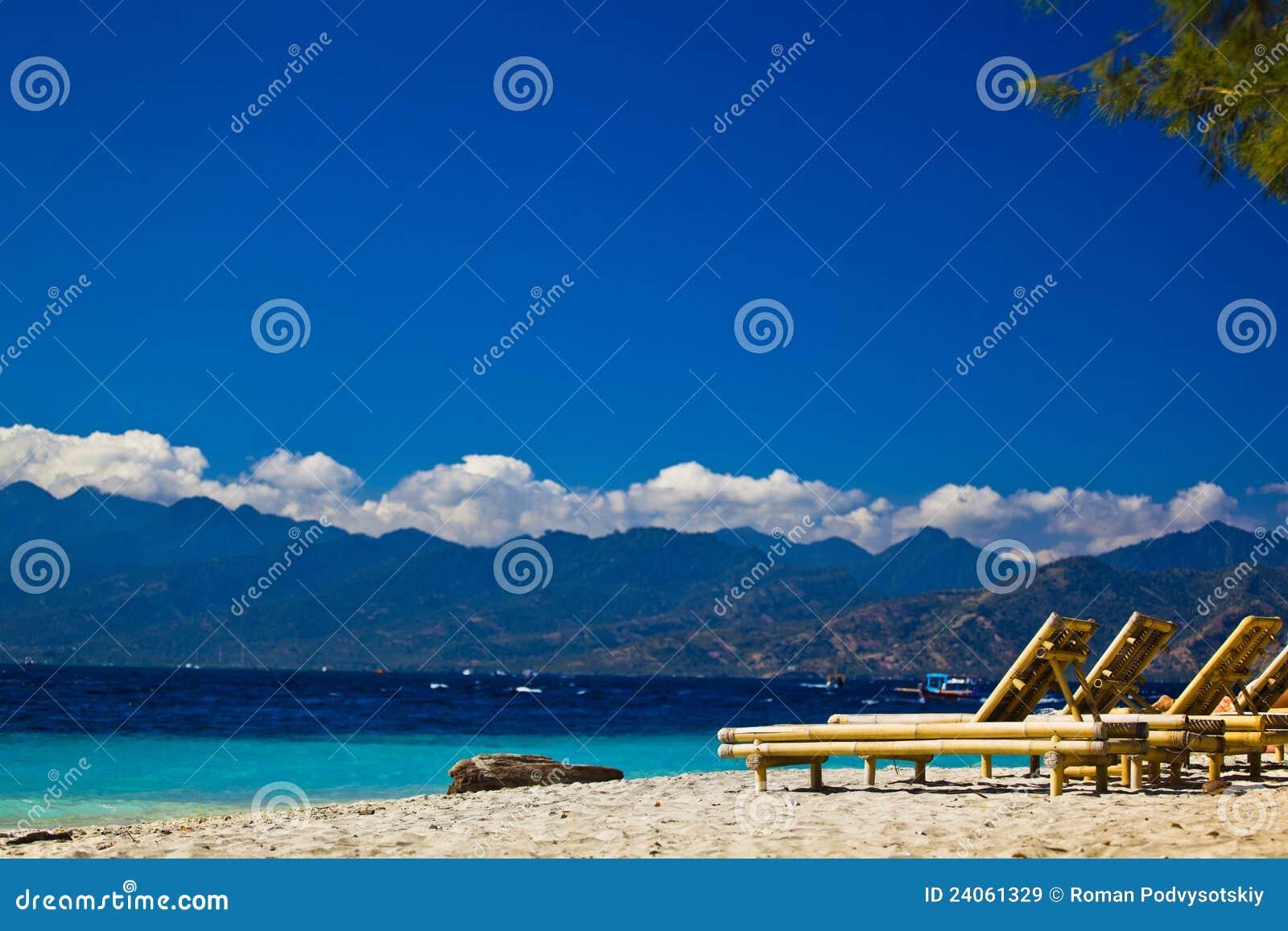 Chaise-longue at the beach.