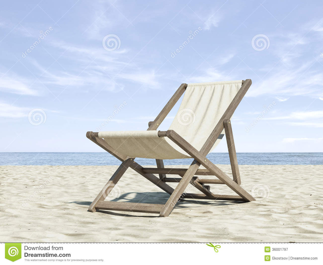 Chaise longue on beach stock image image of launch for Chaise longue de plage pliante