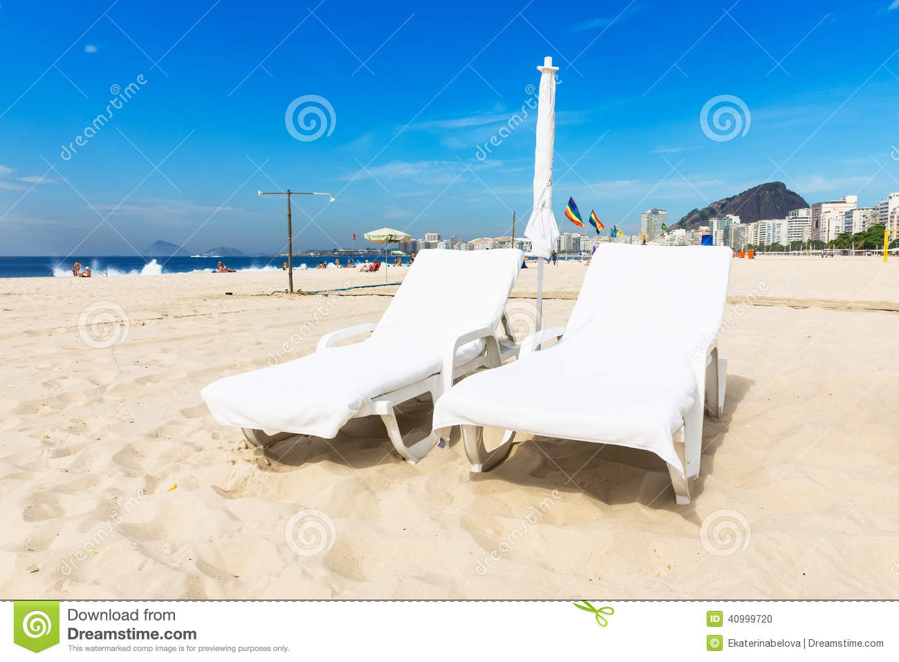 chaise longue on copacabana beach in rio de janeiro stock photo image 40999720. Black Bedroom Furniture Sets. Home Design Ideas